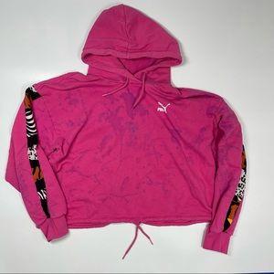 Puma Cropped Pink Tie Dye Hoodie Sweater M